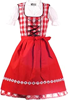 Kiddy Tracht Trachtenkleid 3tlg. Kinderdirndl Set rot Gr. 86,92,104,110,116,122,128,134,140,146,152