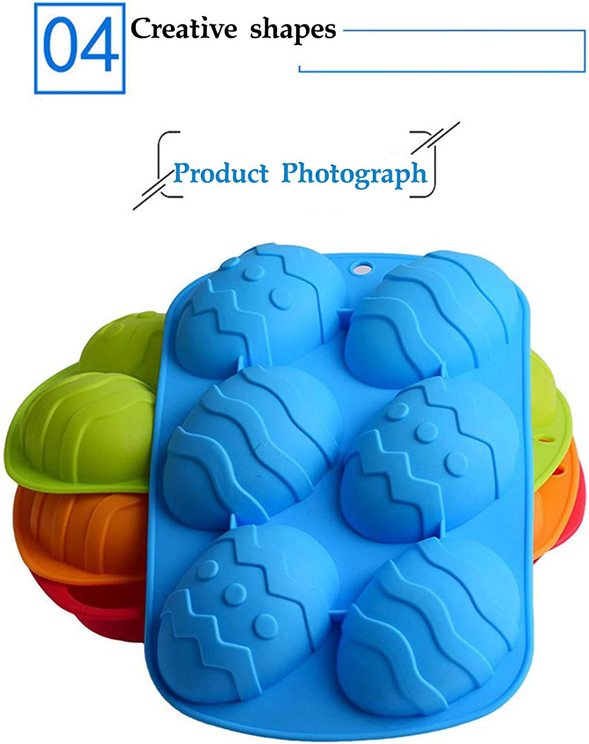 4-colors Soap Shape Jelly Mould Silicone Egg Mold 3D Chocolate Cake Mold Multicolor Dinosaur Egg Giant Ostrich Egg Chocolate Mold Fondant Mould Baking Sugar Craft Decorating Mold Tool Kitchen