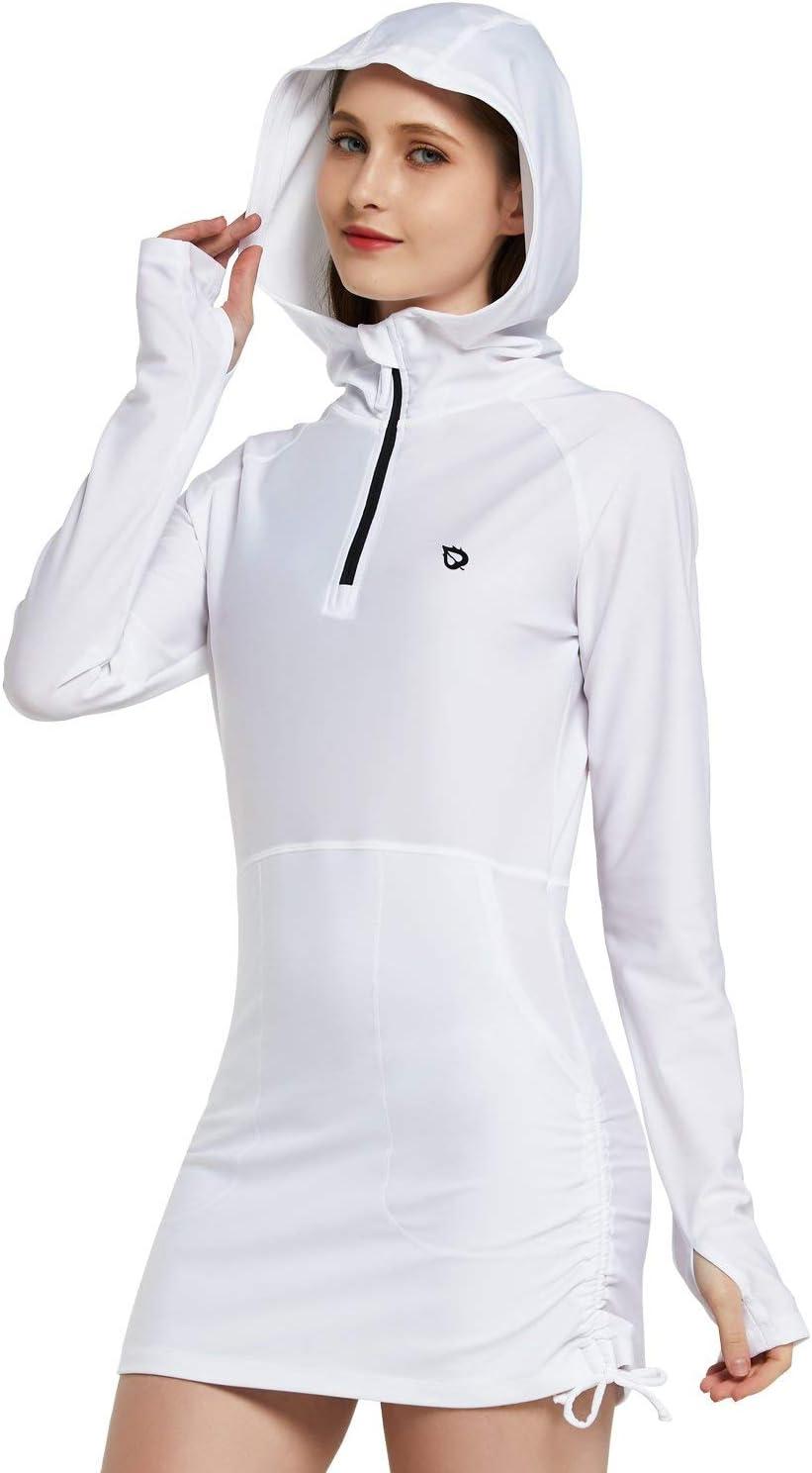 BALEAF Womens Long Sleeve Hooded Rash Guard Sun Protection Side Adjustable Swim Shirt Coverups UPF 50+