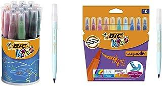 BIC Kids Ecriture Visaquarelle Feutres de Coloriage avec Pointe Pinceau - Pot de 18 & Kids Visaquarelle Feutres de Coloria...
