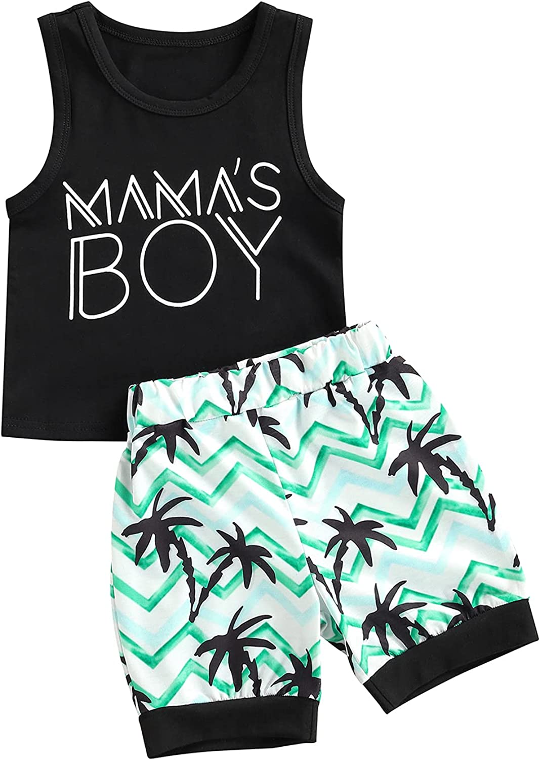 Specialtyliu Toddler Baby Boy Clothes Mama's BOY Sleeveless Tank Top Palm Printed Short Pant Summer Outfit
