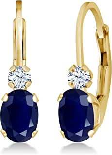 14K Yellow Gold Blue Sapphire and White Created Sapphire 3/4 Inch Earrings, 1.18 Ctw Oval Gemstone Birthstone
