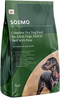 Marca Amazon - Solimo - Alimento seco completo para perro adulto rico en vacuno con guisantes, 1 Pack de 5 kg