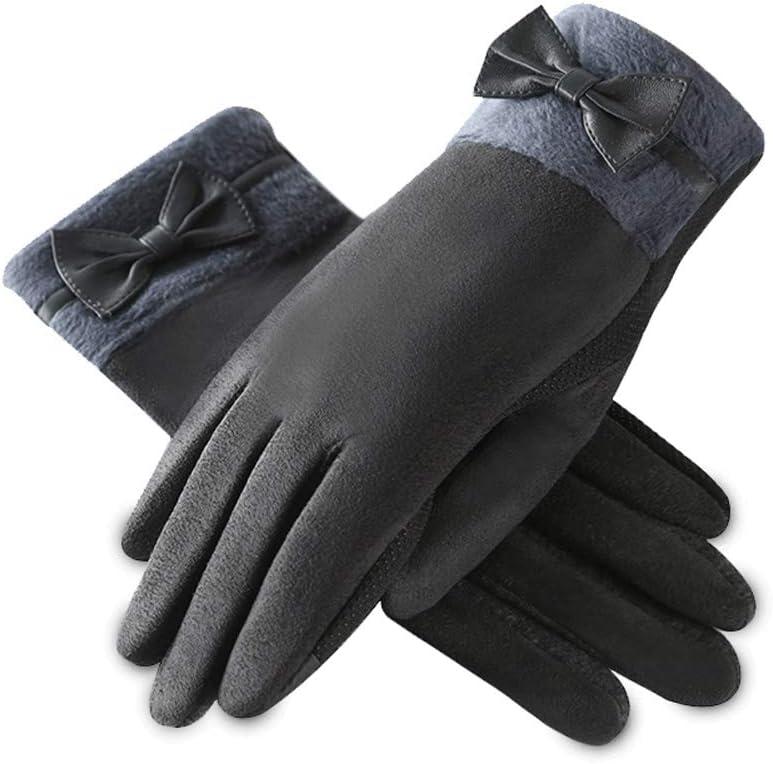 Rebily Autumn Winter Keep Warm Gloves Female Plus Velvet Cold Protection Windproof Non-Slip Outdoor Driving Ridding Gloves