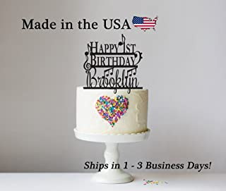 Happy Birthday Cake Topper with FREE Keepsake Base, Any Age, Cake Topper, Music, Musician, Musical Notes, Musical Instrument, Treble Base Clef, Personalized Keepsake