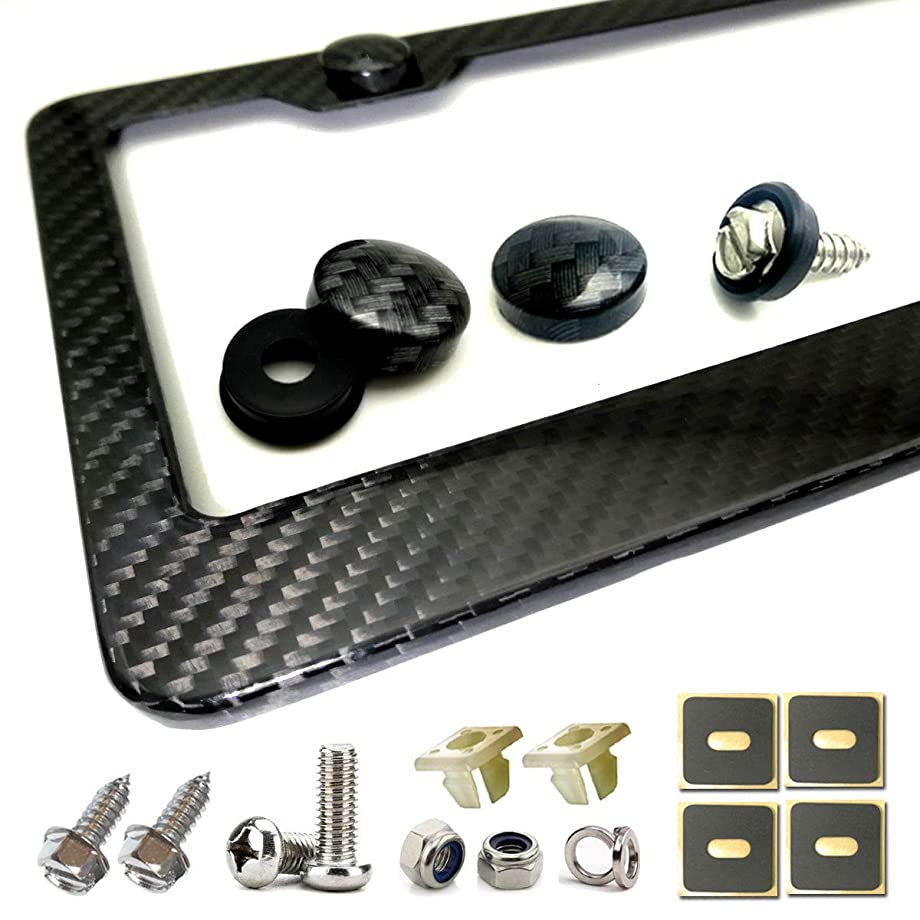 Carbon Fiber License Plate Frame- Handcrafted of 100% Real Carbon Fiber Cloth Wrap Aluminum Frames   Stainless Steel License Plate Screws with CF Screw Caps   Gloss Black 2 Holes   Qty 1 Frame