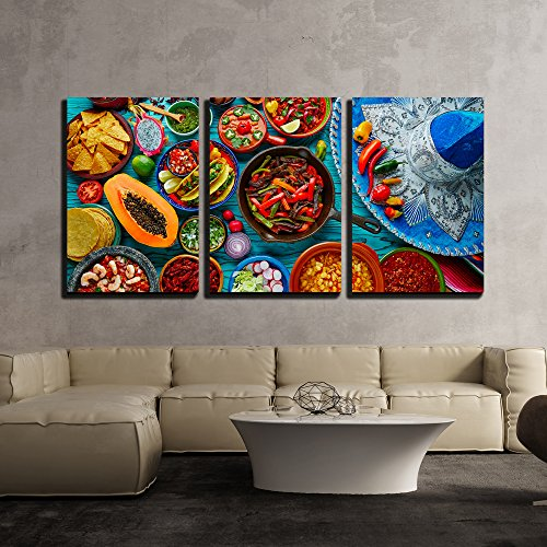 wall26 - Mexican Food Mix Background - Canvas Art Wall Decor - 24'x36'x3 Panels