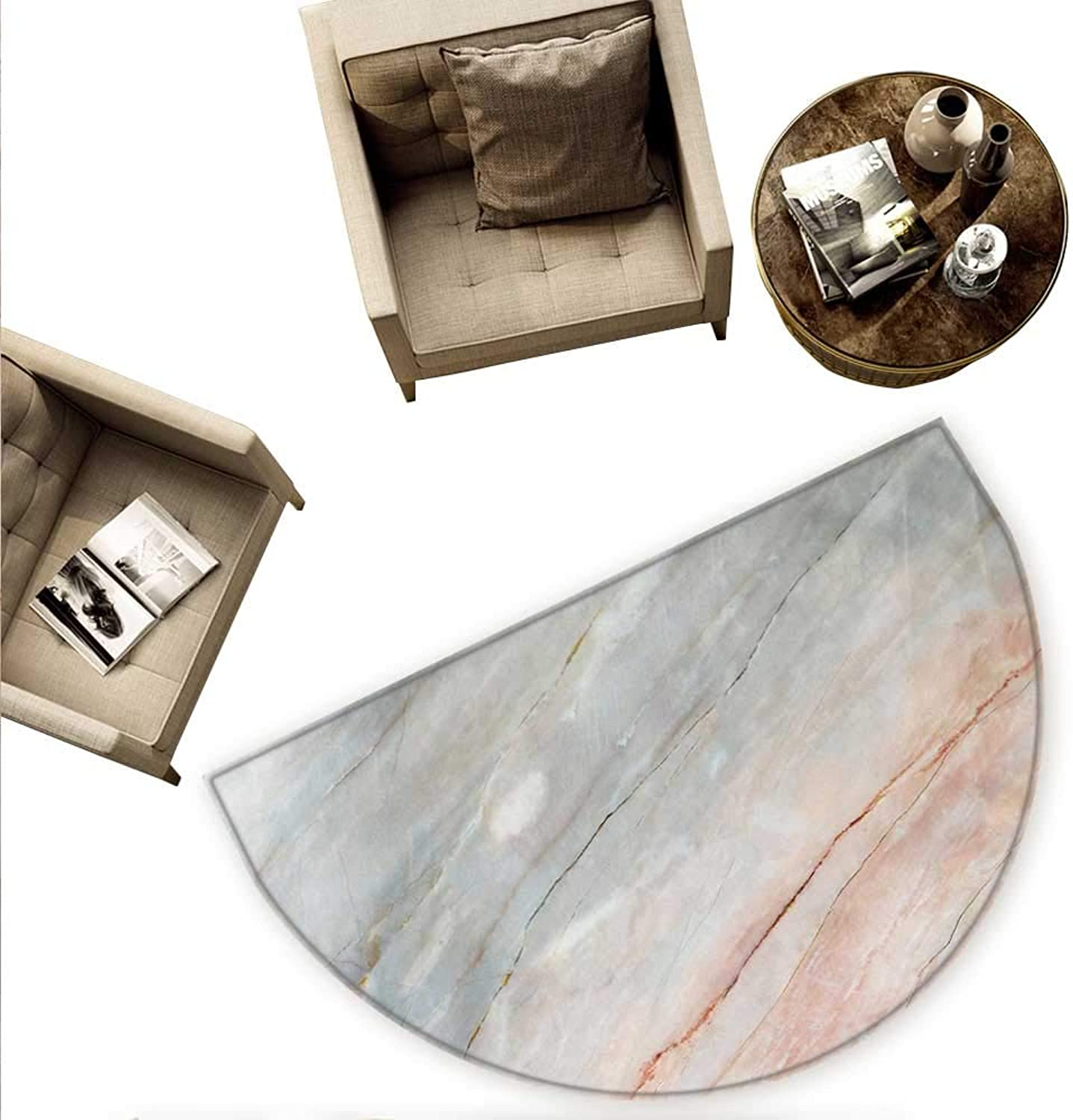Marble Semicircular Cushion Onyx Stone Textured Natural Featured Authentic Scratches Artful Illustration Entry Door Mat H 59  xD 88.6  Peach Pale Grey