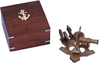 Hampton Nautical Scout's Antique Brass Sextant with Rosewood Box, 4