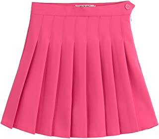 Sports High Waist Skirts Short Pleated Skirt School Dresses for Teen Girls Tennis Scooters Size S (White)