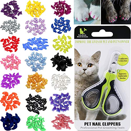 VICTHY 100pcs Cat Nail Caps with Clipper Set, Pet Cat Nail Clipper Cat Soft Claws Nail Covers for...