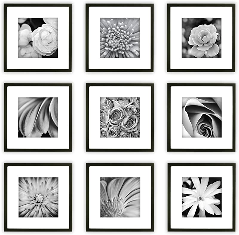 Gallery Perfect 9 Piece Black Square Photo Frame Gallery Wall Kit With Decorative Art Prints Hanging Template