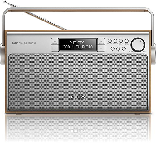 Philips AE5220 tragbares Radio (digitaler UKW-Tuner, DAB+, Akku-Netzbetrieb, 6W RMS) silber/braun