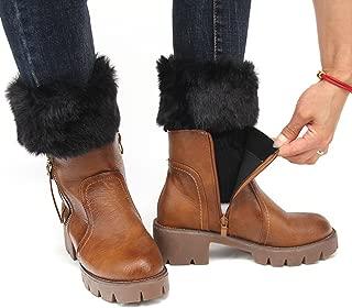 FAYBOX Women Winter Faux Fur Boot Cuff Knitting Leg Warmers Short