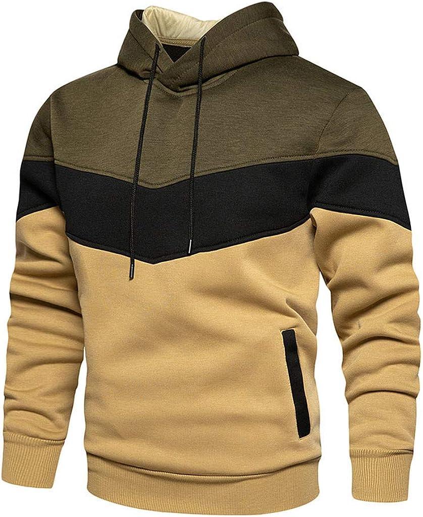 Cookinty Hoodies for Men Men's Contrast Raglan Long-Sleeve Pullover Blend Fleece Hoodie Pocket Athletic Sport Sweaters