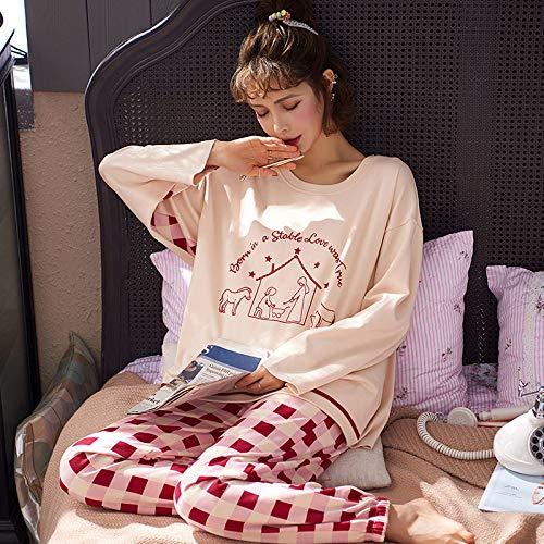 Cálidos Pijamas para Mujer,Crema De Algodón Elegante Camisón Suave Pantalones A Cuadros Caballo Animal Print Winter Woman Christmas Knit Pjs Set Regalo para Sexy Ladies Ropa De Dormir, M
