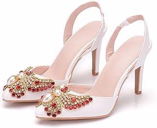 Brautschuhe Damen,Damen Tanzschuhe,Hochzeitsschuhe,9Cm Stiletto Spitze High Heels,Bogen Strass Sandalen,Bankett Abschlussb...