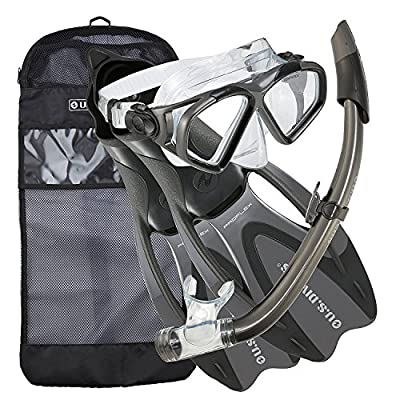 U.S. Divers Cozumel Seabreeze Adult Snorkeling Combo Set with Adjustable Mask, Snorkel, Medium/Large Fins (8-9.5), and Travel Bag, Gray