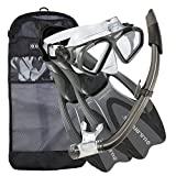 U.S. Divers Cozumel Seabreeze Adult Snorkeling Combo Set with Adjustable Mask, Snorkel, Large Fins (9.5-11.5), and Travel Bag, Gray
