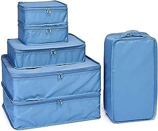 مجموعة من 6 صناديق تعبئة للسفر ومنظمات تعبئة الأمتعة للسفر مع حقيبة أحذية (أزرق محيطي)