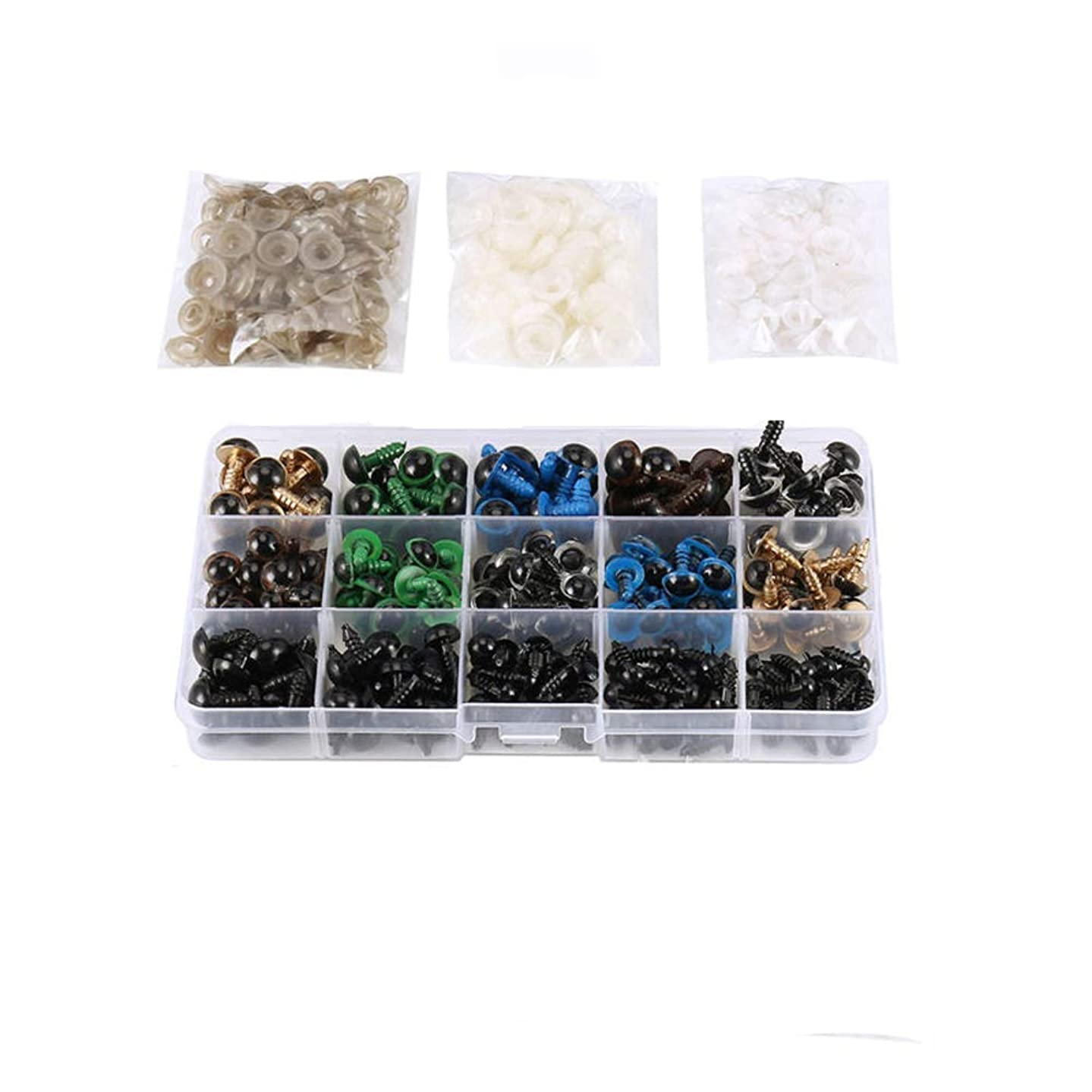 Eyech 264PC Colorful Plastic Safety Eyes with Washers for Making Toys Bear, Doll, Puppet, Plush Animal DIY Crafts (6-12mm)
