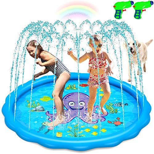 "jcaeh Splash Pad Sprinkler for Kids Toddlers, Wading Pool for Learning 68"" Large Outdoor Inflatable Water Sprinkler Toys Water Filled Play Mat Sprinkler Pool for Toddlers Boys Girls Children, Blue"