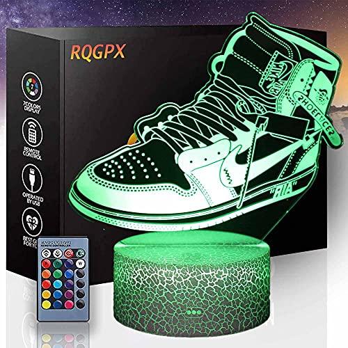 Lámpara de ilusión 3D zapatos de baloncesto E 16 colores LED noche luz auto cambio ilusión lámpara decoración mesa luz para niños niños niñas