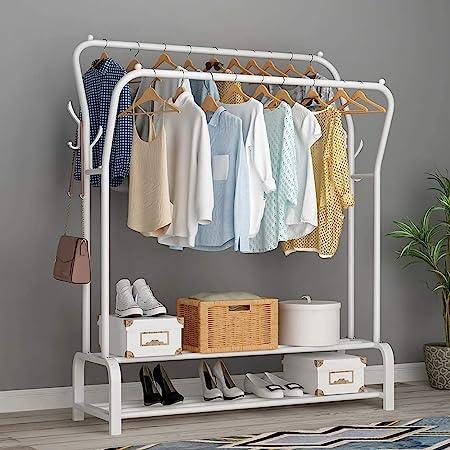 Lukzer Multipurpose Metal Garment Rack Heavy Duty Clothes Rail Double Pole Garment Stand with 2 Bottom Shelves & Side Hook Hanging Handbag Umbrella for Bedroom, Living Room (White)