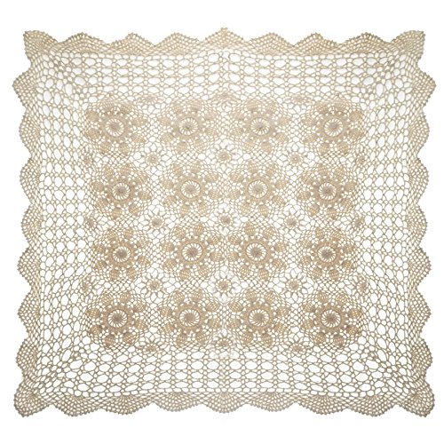 aspire 50,8 cm – 121,9 cm Beige carré Fait à la Main au Crochet en Dentelle de Coton Table Sets de Table Canapé napperons, Coton, Beige, 24in