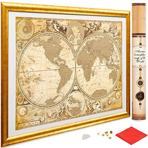 My New Lands Ancient History Gold Scratch Off Map of The World, Size-17x24 Inches, US States Outlined, Original Deluxe Travel Map: Detailed Cartography, Made in Europe