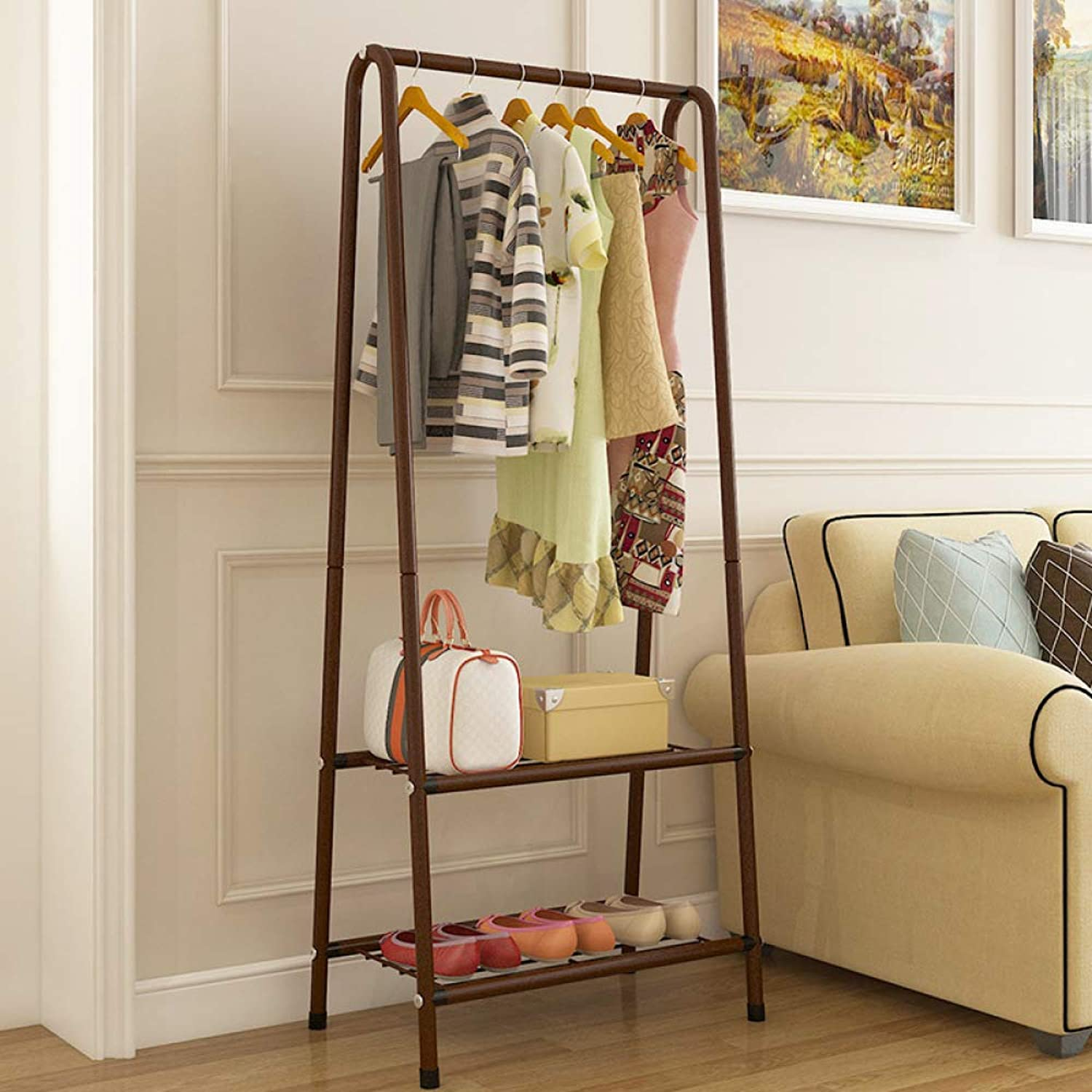 Coat Rack Bedroom Simple Living Room Clothes Rack,Brown-60.2  35.8  151cm