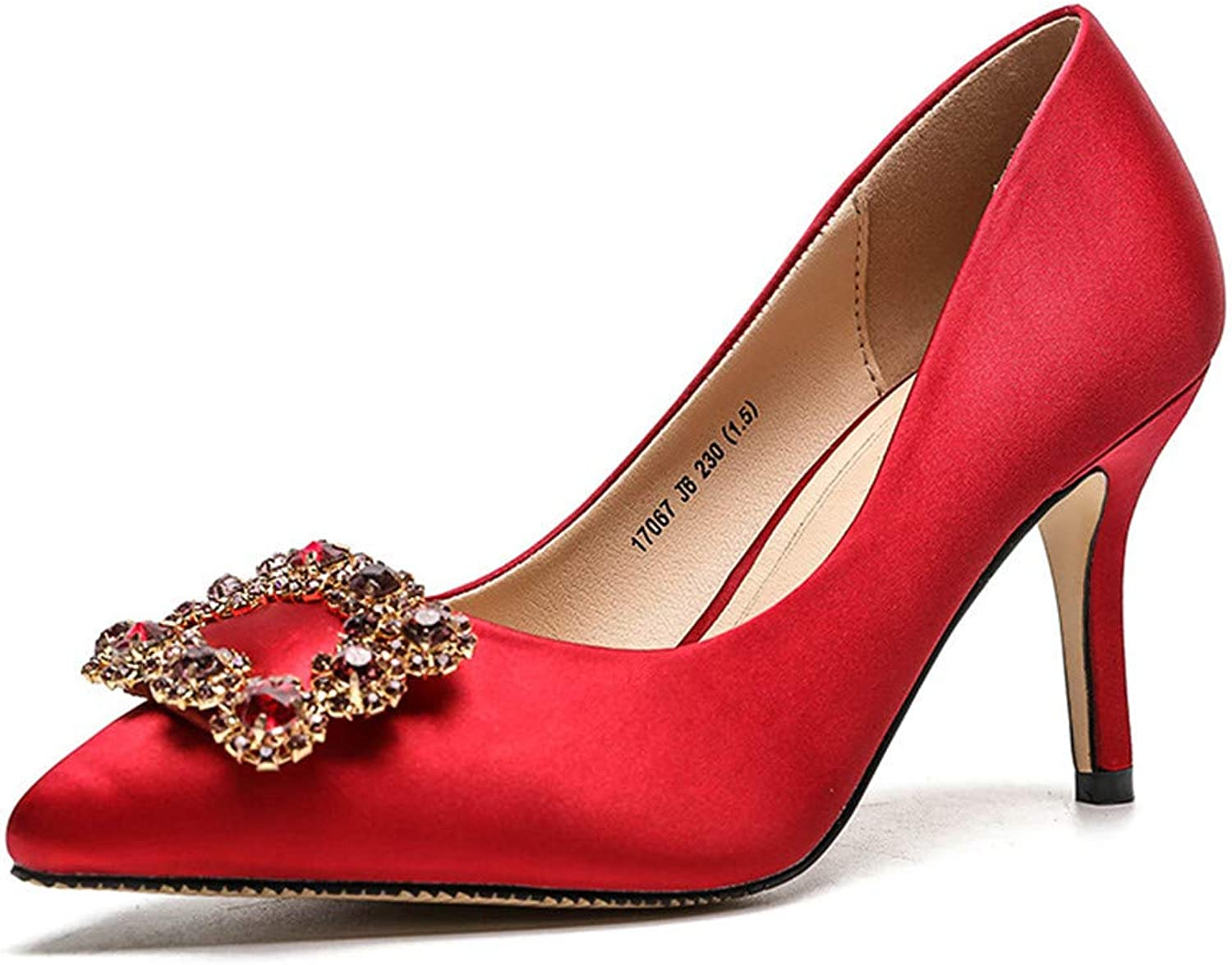 Meiren Women's Pointed Shallow Stilettos Crystal Square Buckle Sexy shoes Red