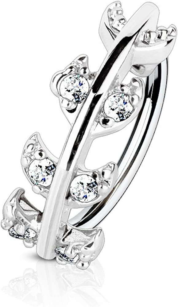 Covet Jewelry CZ Paved Vine Top 316L Surgical Steel Nose, Cartilage Hoop Rings