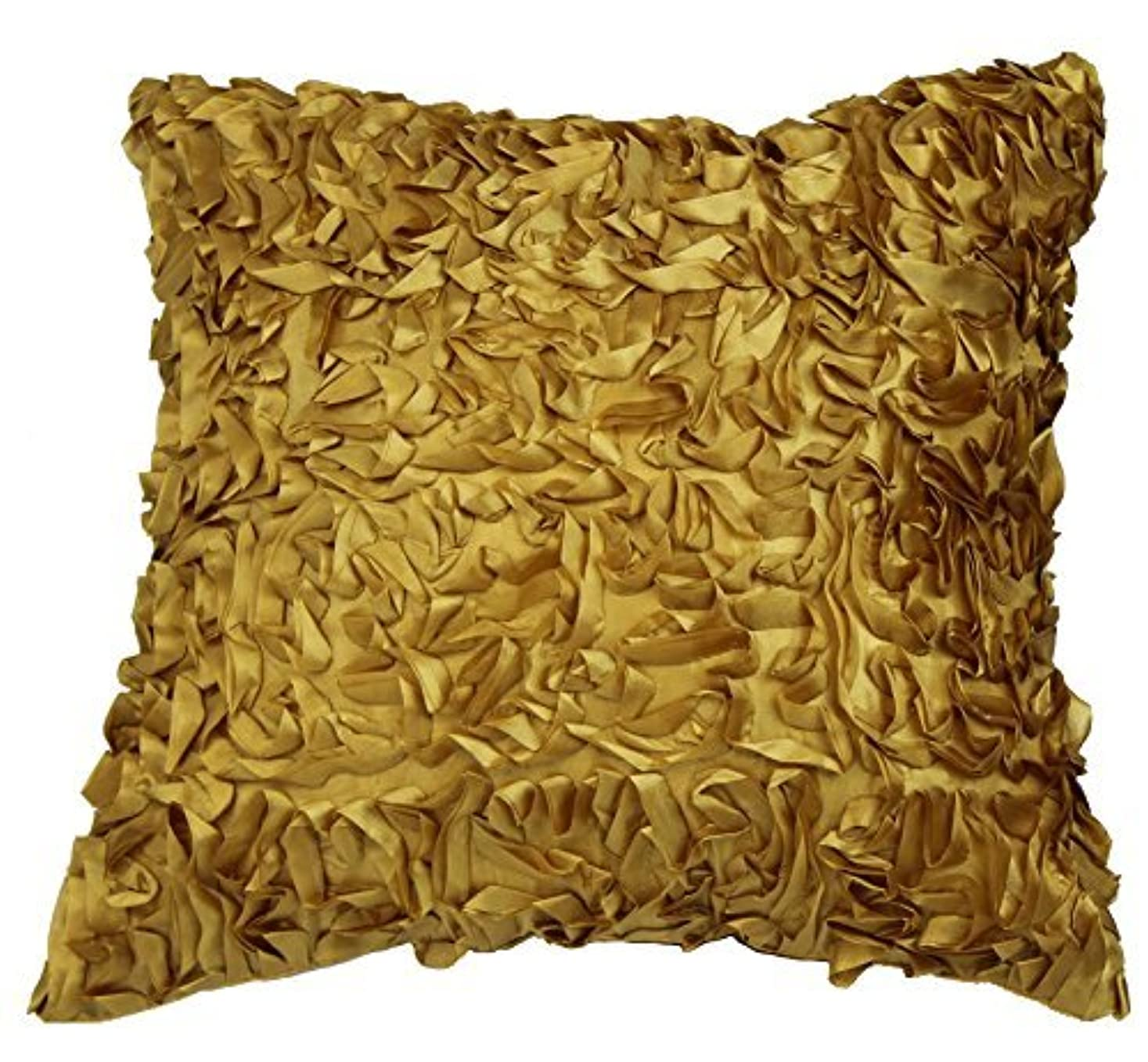 バーガー遵守する早いViolet Linen Silky Taffeta Abstract 3D Design Decorative Throw Pillow Gold [並行輸入品]