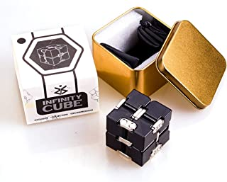 Wandi Metal Infinity Cube Fidget Toy (6 Colors), Sensory Tool EDC Fidgeting Game for Kids and Adults, Toy with Cool Case Infinity Magic Cube Relieve Stress Anxiety ADHD OCD for Kids and Adults(Black)