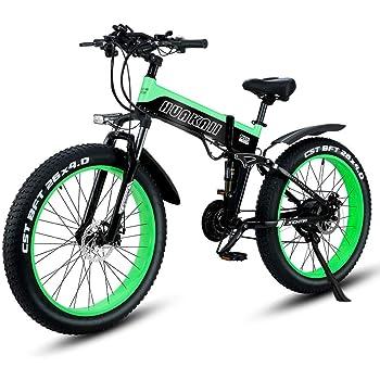 Shengmilo Bicicletas eléctricas de 26 Pulgadas, Bicicleta eléctrica de montaña Plegable, 1000W 48V13ah, batería de células, Bicicleta eléctrica, Bicicleta eléctrica para Hombres de Mujeres (Verde): Amazon.es: Deportes y aire libre