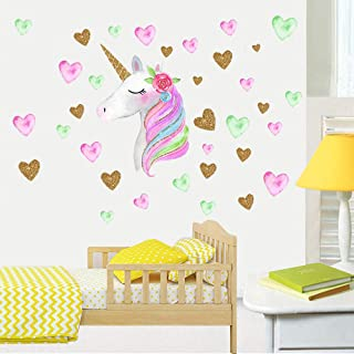 Unicorn Wall Decals 2-Pack | Eco-Friendly PVC Material | Vapker Unicorn Wall Decor Sticker Gifts for Boys Girls Kids Bedroom, Nursery Room, Living Room Home Decor