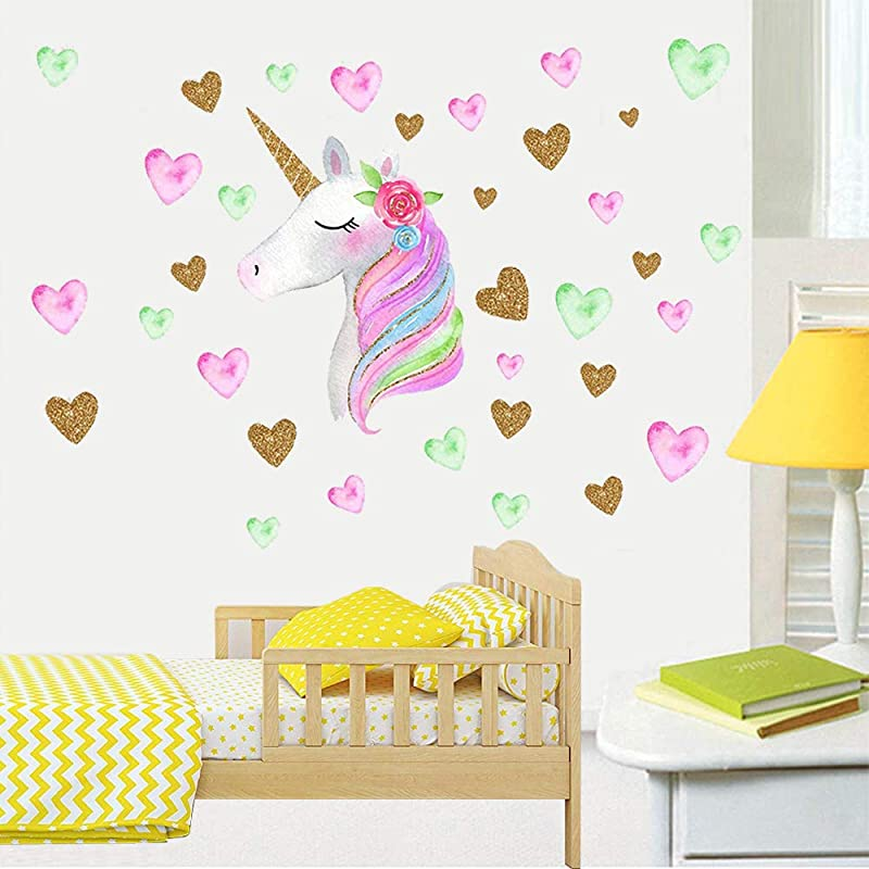 Unicorn Wall Decals 2 Pack Eco Friendly PVC Material Vapker Unicorn Wall Decor Sticker Gifts For Boys Girls Kids Bedroom Nursery Room Living Room Home Decor
