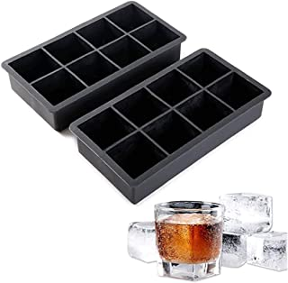 Ice Cube Tray Large Size Silicone 8 Cavity Ice Maker for Whiskey and Cocktails, Keep Drinks Chilled Easy Use Perfect Desig...
