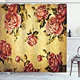 ABAKUHAUS Rose Duschvorhang, Victorian-Art-Muster, Digital auf Stoff Bedruckt inkl.12 Haken Farbfest Wasser Bakterie Resistent, 175 x 200 cm, Creme Rosa grün