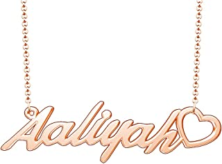 Moonlight Collections Rose Gold Plated Heart Pendant Custom Name Necklace