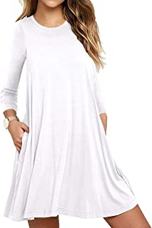 Best white long sleeve casual dress Reviews