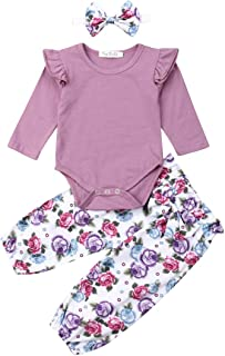 3Pcs Baby Girl Outfits Infant Newborn Ruffle Romper + Floral Pant + Headband Clothes Sets