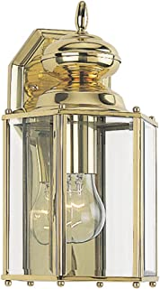 Sea Gull Lighting 8509-02 Classico One-Light Outdoor Wall Lantern With Clear Beveled Glass Panels, Polished Brass Finish