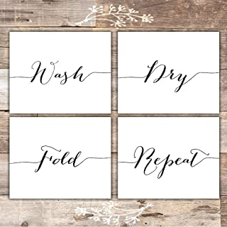 Wash Dry Fold Repeat - Laundry Room Wall Decor Art Prints (Set of 4) - Unframed - 8x10s