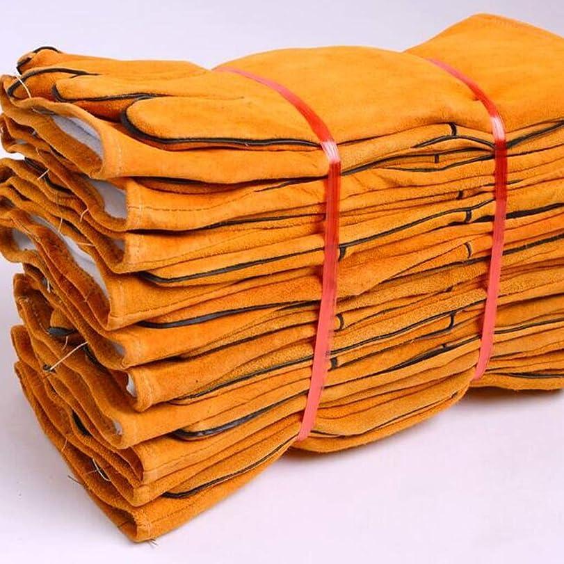 表面的な製造業太いレザーグローブ溶接機溶接溶接溶接機の手袋耐摩耗性の長い厚い耐熱絶縁の抗スケーリング8ペア SHWSM (Color : Yellow)