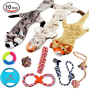 Customer reviews Lobeve Dog Toys Gift Set,Variety No Stuffing Squeaky Plush Dog Toy Cotton Rope Puppy Toys Bundle Medium to Small Doggie