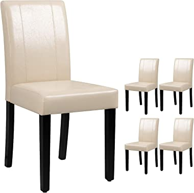 Victone PU Leather Dining Chairs Modern Home Kitchen Side Chair Solid Wood Legs Living Room Chairs Set of 4 (Beige White)