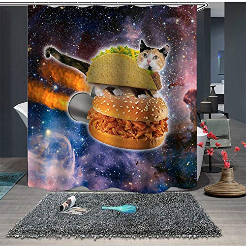 Cortina De Ducha,Personalidad Burger Cat Bajo El Colorido Cielo Estrellado Patrón Material De Poliéster 100% Impermeable Resistente Al Moho Cortinas De Baño Con Ganchos De 12Pcs Para El Hogar Y