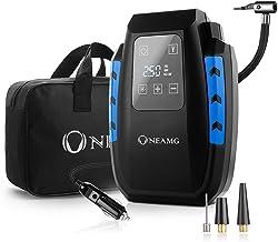 OneAmg Compresor de Aire Eléctrico Portátil Bomba de Aire Eléctrico Hinchador Portátil Alimentado con Manómetro 12V con LED Luces de Emergencia para Hinchar Neumático de Moto Coche y Bicicleta (Blue)